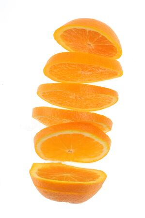 Sliced orange in closeup on white background