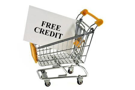 Cart with a card on which is written free credit Stock Photo