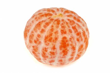 Tangerine peeled in closeup on white background