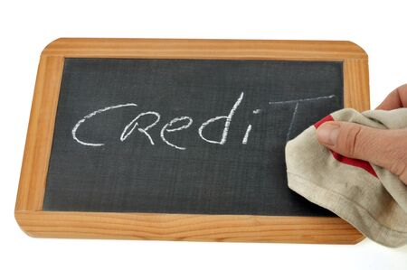 Clear the word credit on a school slate