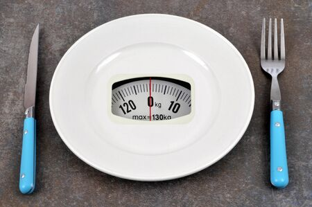Diet concept with weighing plate