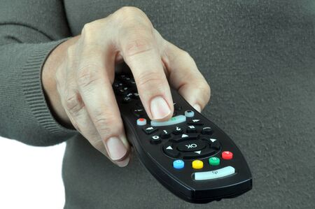 The remote control in hand