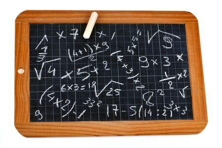 Mental arithmetic on a school slate with chalk Archivio Fotografico
