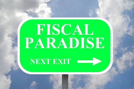 Road sign indicating the direction of a tax haven