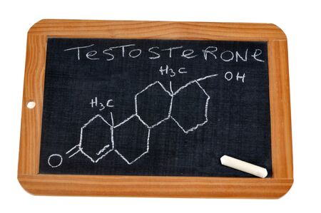 School slate on which is written the chemical formula of testosterone   School slate on which is written the chemical formula of testosterone Stock Photo