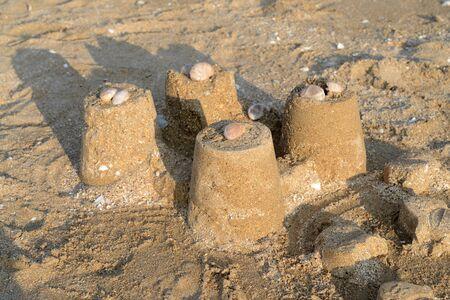 Sand castle on a Brittany beach Reklamní fotografie