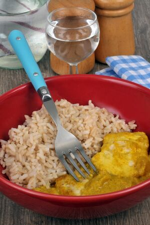 Diet meal with fish curry with rice