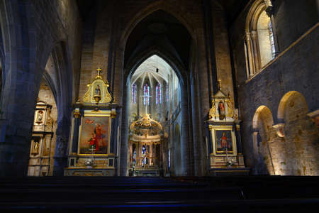Interior of the Saint-Sauveur basilica in Dinan in Brittany
