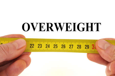 Overweight measurement concept close-up on white background