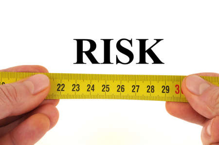 Risk measurement concept close up on white background