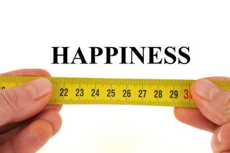 Happiness measurement concept close up on white background