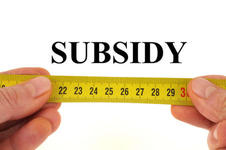 Subsidy measurement concept close up on white background