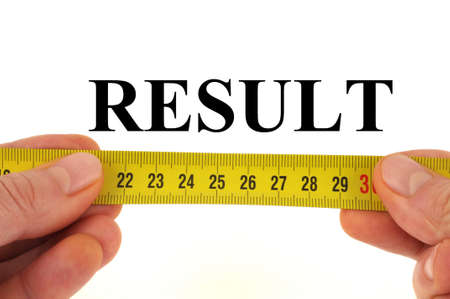 Result measurement concept close up on white background