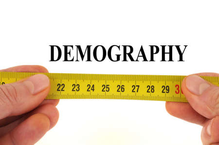 Demography measurement concept close-up on white background