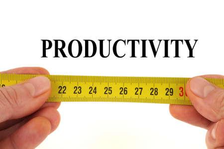 Productivity measurement concept close-up on white background