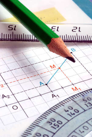 Mathematical graph with school supplies close up