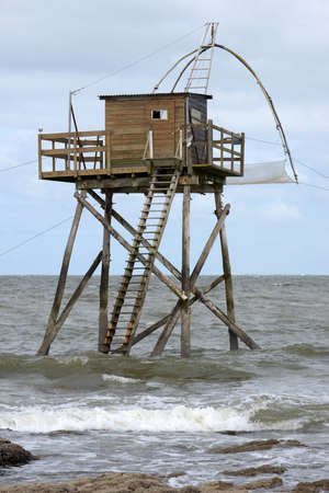 Carrelet fishing hut on Comberge beach in Saint-Michel-Chef-Chef
