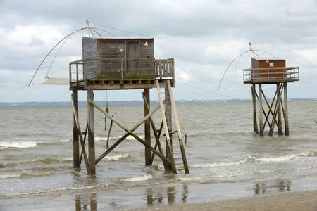Carrelet fishing huts at Tharon-Plage