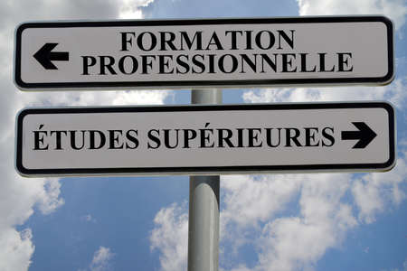 Signs indicating vocational training and higher education