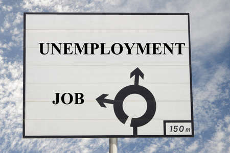 Sign indicating the direction of job and unemployment Stockfoto