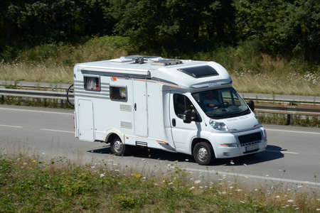 Motorhome on the road to vacation in France