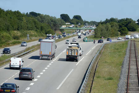 Traffic on the national 165 near Vannes in Brittany