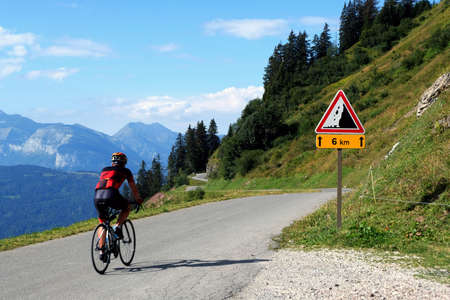 Col de Joux-Plane with a sign indicating a risk of rockfall