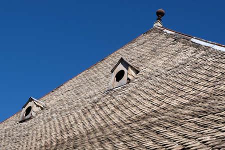 Close-up chalet roof in Haute-Savoie Stock fotó