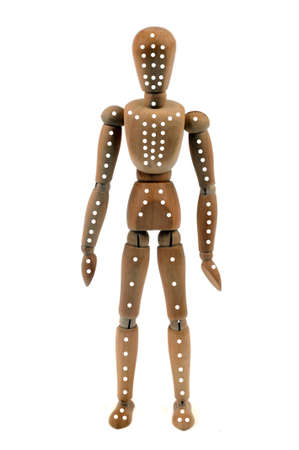 Concept of acupuncture points with wooden mannequin on white background