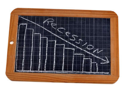 Recession concept with a graph drawn on a school slate