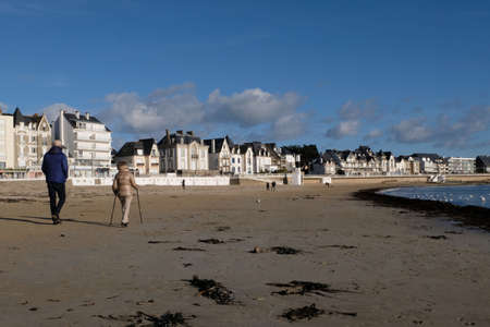 Walk on the Grande Plage of Quiberon in Morbihan in Brittany