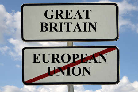 Sign indicating the exit of Great Britain from the European Union Standard-Bild