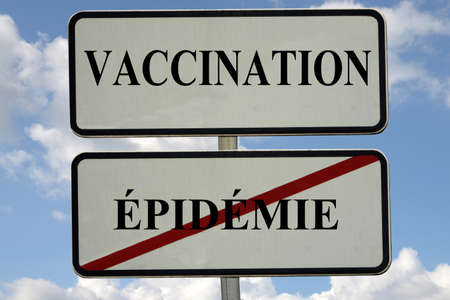 French concept of inciting vaccination against an epidemic with a road traffic sign