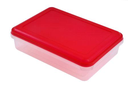 Food plastic box close-up on white background