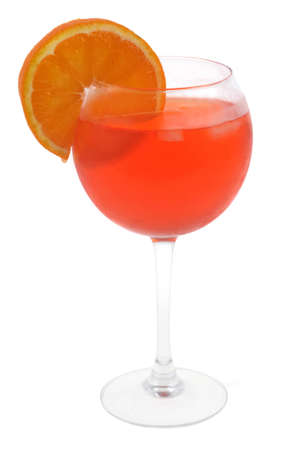 Glass of spritz with a slice of orange close-up on white background Standard-Bild