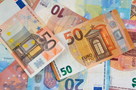 Euro banknotes close up background