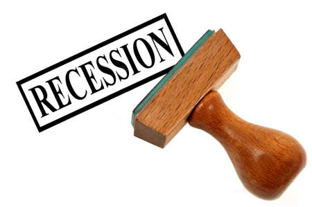 Rubber stamp showing recession on a white background