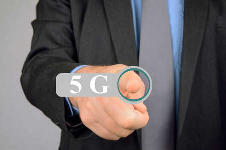 Concept of man connecting to a 5G network