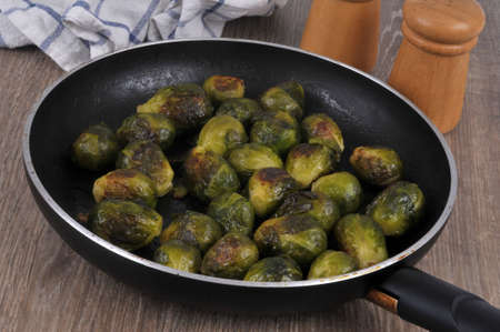 Brussels sprouts cooked in a pan close-up