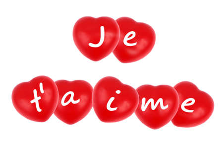 I love you written in french on hearts on white background
