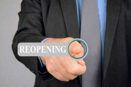 Man pressing reopening virtual button