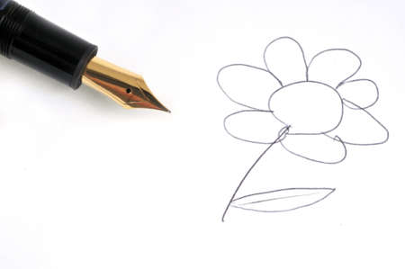 Flower drawn with feather pen close-up on white background