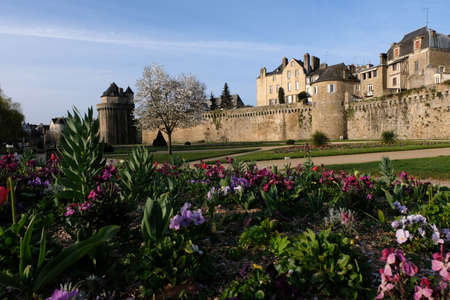 Garden and ramparts of Vannes in Brittany Stock Photo
