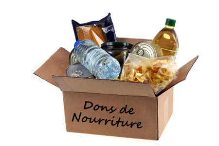 French cardboard box of food donations close up on white background Stockfoto