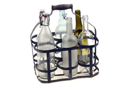 Bottle basket close-up on white background