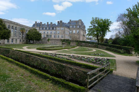 The garden of the Morbihan prefecture in Vannes in Brittany Editorial