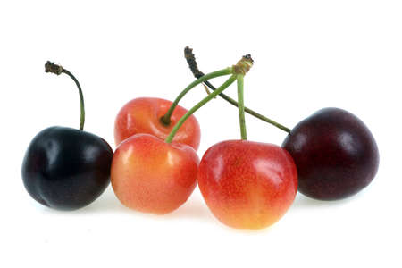 Bigarreaux cherries and Napoleon cherries in close-up on white background Banque d'images