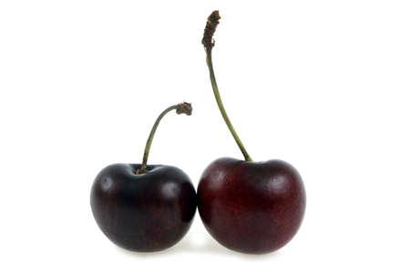 Bigarreaux cherries close-up on white background