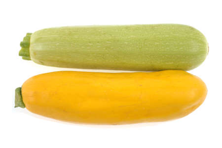 White Lorea zucchini and raw yellow zucchini on white background Banque d'images