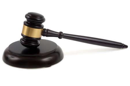 Judge hammer close-up on white background Banque d'images